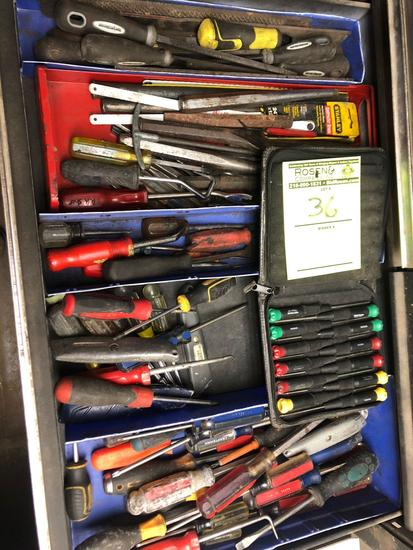 Bulk drawer load of numerous screwdrivers, hammer bits, nut drivers & more