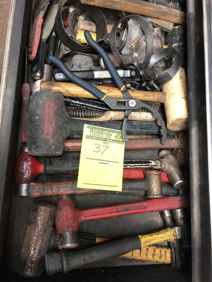 Bulk drawer load of mallets, hammers, filter wrenches, brushes and more