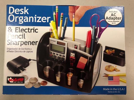 (Pallet 13) Desk Organizer & Electric Pencil Sharpener (Includes AC adapter)