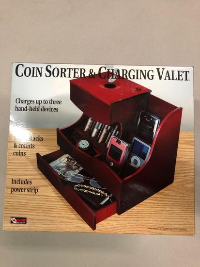 Coin Sorter & Charging Valet (Charges up to 3 handheld devices, sorts, stacks & counts coins,
