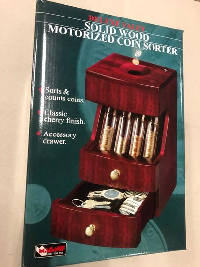 Solid Wood Deluxe Valet Motorized Coin Sorter (Sorts & Counts, Classic Cherry Finish, Accessory