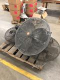 Group of (3) Wall Mount Shop fans.