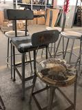 (3) Vintage Steel Shop Stools