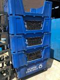 Stack of 4 Plastic Recycling Tubs on Casters 30 in deep, 45 in long, 30 in wide