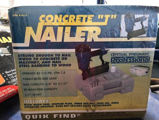 NEW in box, Air Powered Concrete T Nailer