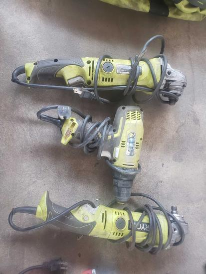 Ryobi Electic Tool 2 Grinders and 1 Drill