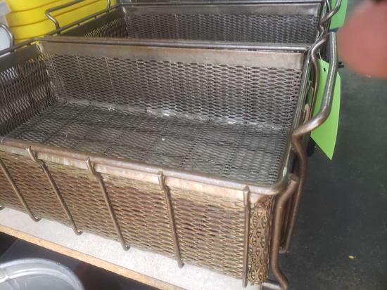 2 Vintage industrial steel hardware baskets