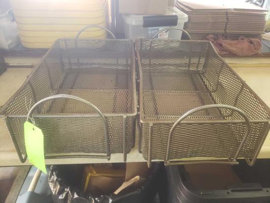 2 Vintage industrial steel hardware baskets