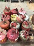 Group Lot of 13 Metal Fuel Cans