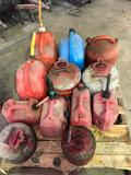 Group lot of 12 Assorted gas cans