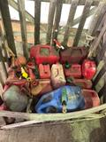 Group lot of 15 Assorted gas cans