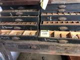 Vintage Wooden 10 Drawer Cabinet of Plastic & Lead Letters/Numbers