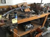 Wooden Workbench with misc contents, with built in vise, bench is 68 inches long
