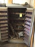 Wooden cabinet FULL of accessories, blades, and more for the Oliver machine in lot 35