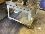 Heavy Duty Metal cart on casters, with metal top, could be used as a welding cart, 36 x 28 inches,