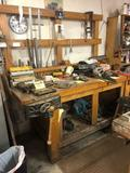Hand made wooden Workbench w/ Vice (no contents)