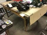 Wooden workbench, 72 x 42 inches, no contents included