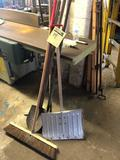 Group lot of long handle tools and bar clamps