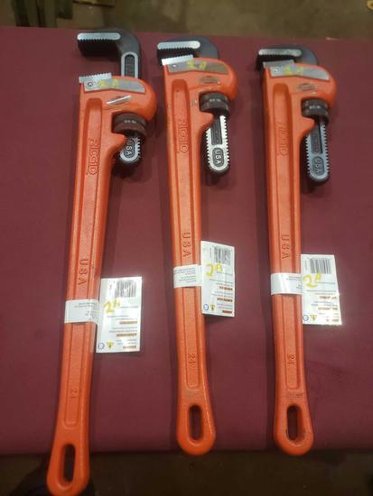 "(3) Brand New 24"" Ridgid Pipe Wrenches"