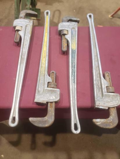 """(4) 36"""" Ridgid Aluminium Pipe Wrenches"""