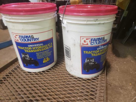 Two 5 gallon new universal tractor hydraulic transmission fluid