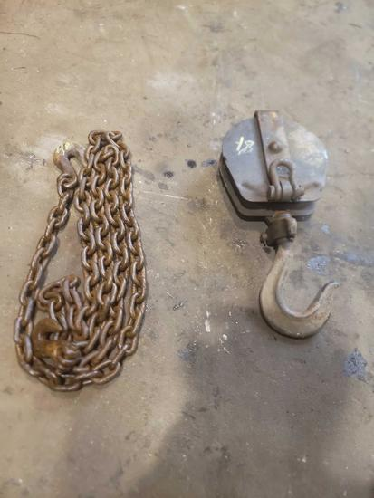 Heavy Duty Rope Pully and 10 foot chain