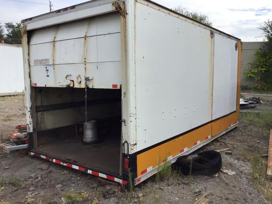 Approx 14 foot box with roll up door Fiberglass body