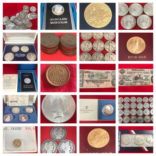 Gold, Silver, Platinum, and Key Date coin auction