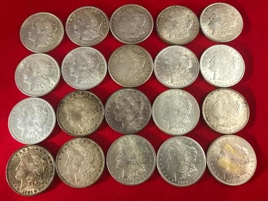 (20) 1921 Morgan Silver Dollars, selling times the money.