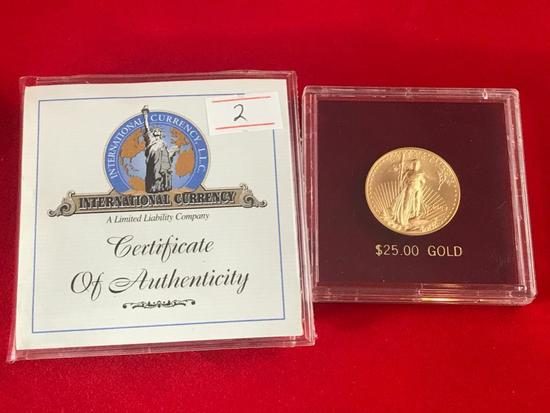 2003 $25.00 Gold American Eagle, 1/2 Troy Ounce of Gold with COA