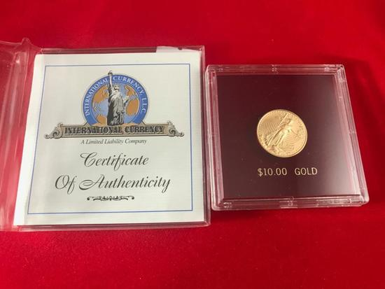2003 $10.00 Gold American Eagle, 1/4 Troy Ounce of Gold with COA