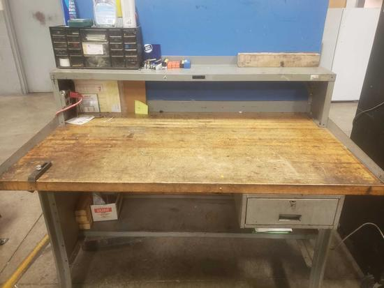 Nice steel work station with solid wood top contents included