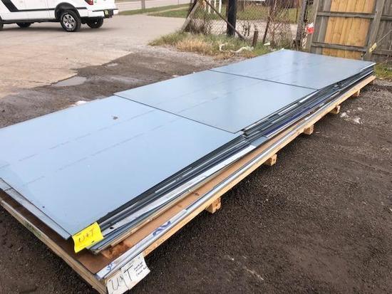 Pallet of ACM Composite Panel Remants, color is Sunrise Silver (Aluc). SKID T