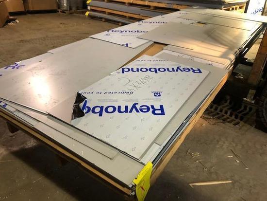 Pallet of ACM Composite Panel Remants, color is Champagne Metallic. SKID X