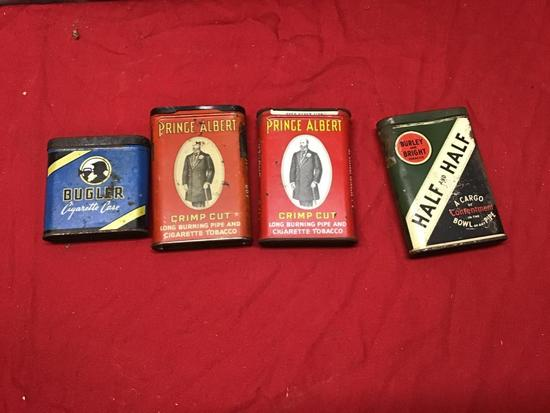 Collection of 4 Vintage Tobacco tins, Prince Albert, Bugler, and Burley and Bright