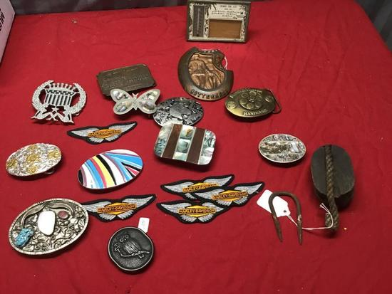 Large Collection of Belt Buckles, Rope Pulley, and Thermometer Picture frame
