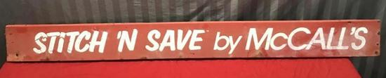 Stitch N Save by McCall's vintage sign, approx 52 inches long
