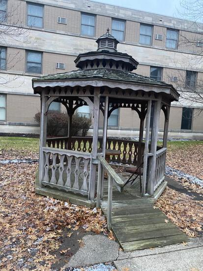 Wooden Gazebo. Octagon shaped, and approx 10 foot wide.