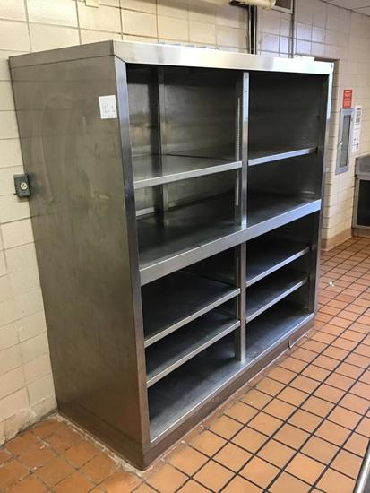 Large Stainless Steel shelf, with adjustable shelves, 78 inches wide, 30 in. deep, and 80 in. tall