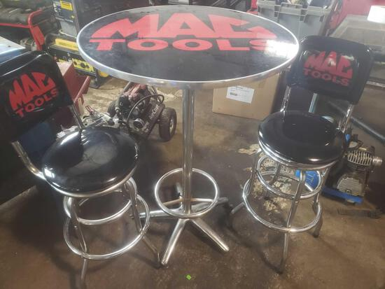 Mac tool high top table with 2 swivel matching bar stools