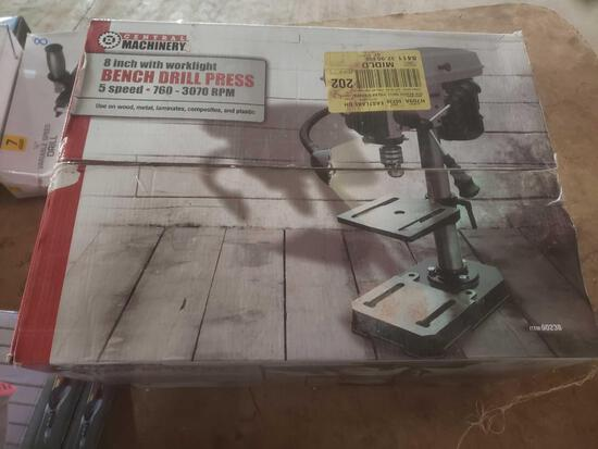 "Central machinery 8"" bench drill press with work light 5 speed"