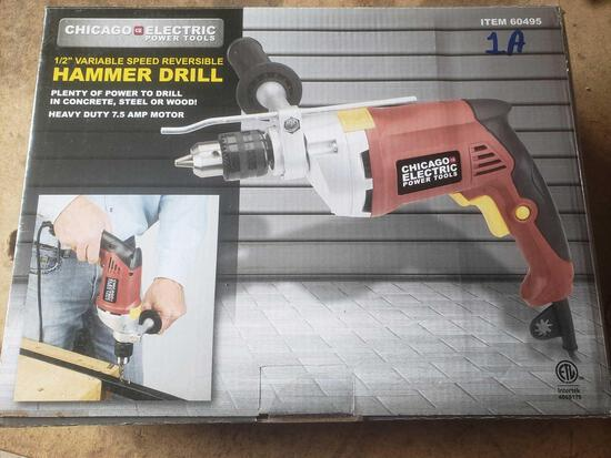 New Chicago Electric Half inch variable speed reversible hammer drill 7.5 amp motor