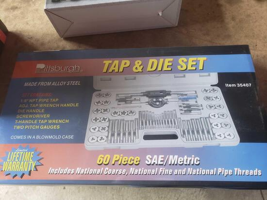New Pittsburgh 60 piece Sae/metric tap and die set