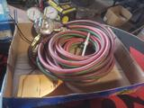 Oxygen and acetylene torch hoses and harris gauge