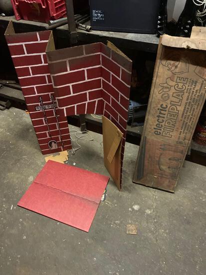 Vintage Christmas cardboard fireplace decor in original box