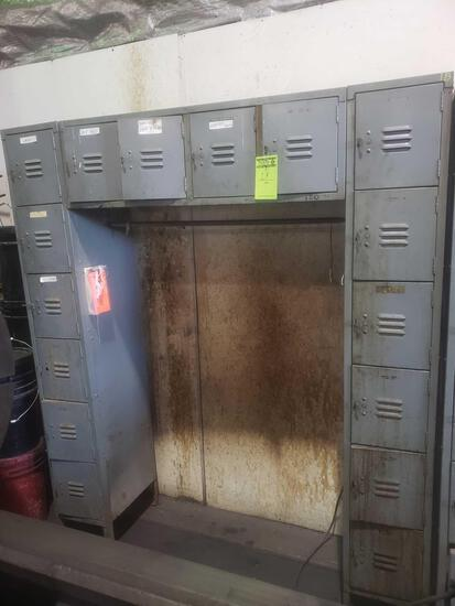16 cubicle vintage lockers with coat hanging rack