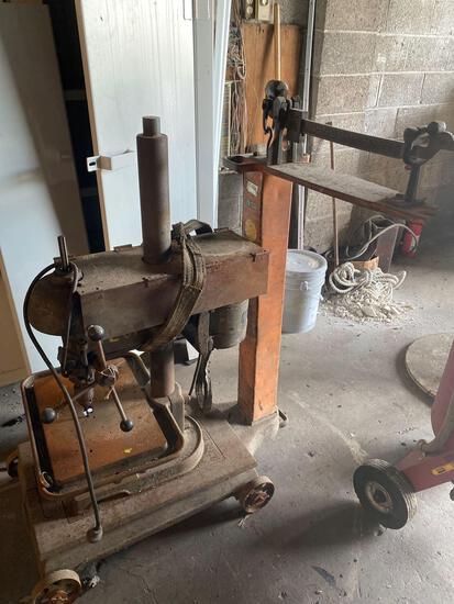 Vintage drill press on vintage scale