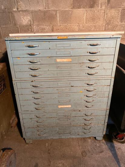 (3) 5 drawer steel blue print cabinets