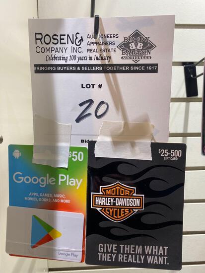 (2) Gift Cards. $100 Harley Davidson, $50 Google Play