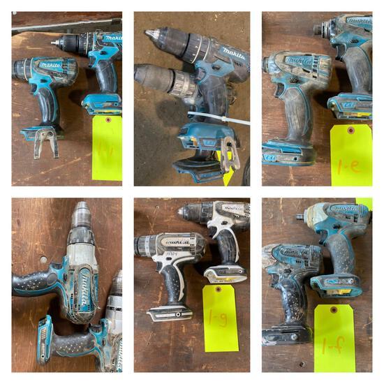 Group Lot of (12) Makita 18v Cordless Impacts and Drills